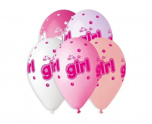 "Balony ""IT'S A GIRL"", 5 szt, Baby Shower"